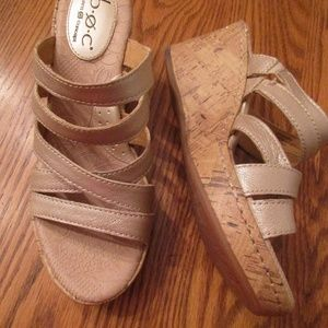 BOC Born Beige Wedge Leather Sandals 7 38